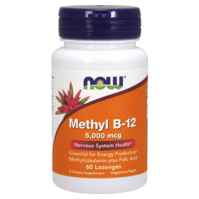 Витамин  Б12, Метил 5000 мкг | Vitamin B12 Methyl | Now Foods, 60 дражeта