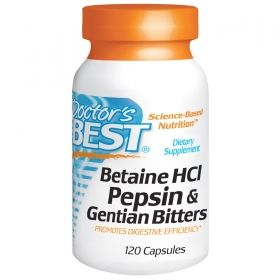 Бетаин с пепсин | Betaine HCL Pepsin and Gentian Bitters | Doctor's Best,120 капс