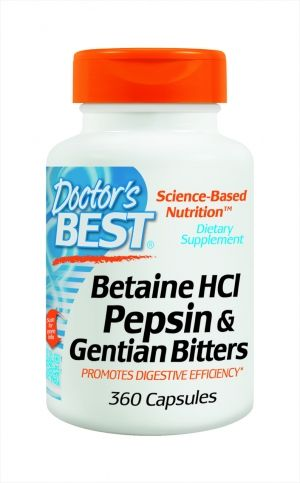 Бетаин с пепсин | Betaine HCL Pepsin and Gentian Bitters | Doctor's Best, 360 капс