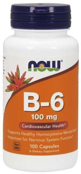 Витамин Б-6, Пиридоксин, 100 мг | Vitamin B-6 | Now Foods, 100 капсули