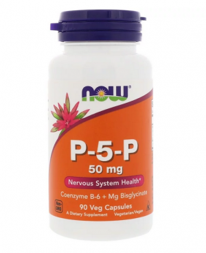 Витамин B-6, Пиридоксин 50 мг| Vitamin P-5-P | Now Foods, 90 капс