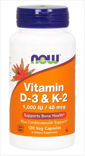 Витамин Д3 и К2, 1000 IU | Vitamin D3 + K2 | Now Foods, 120 капс